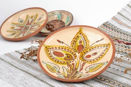 Decorative ceramic plate painted with glaze handmade bright interior pottery - MADEheart.com