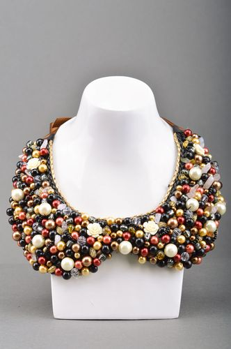 Handmade designer collar necklace embroidered with large colorful beads - MADEheart.com