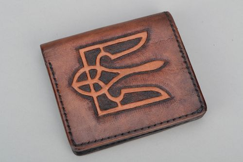 Handmade leather wallet Trident - MADEheart.com