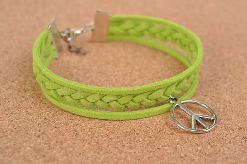 Handmade suede bracelet with charm Pacific designer woven summer accessory - MADEheart.com