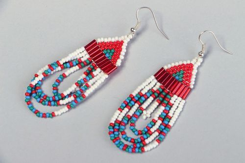 Long earrings with beads in ethnic style - MADEheart.com