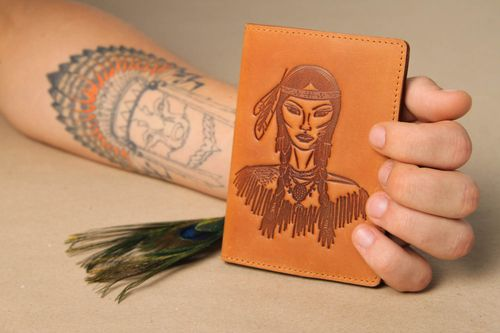 Unusual handmade passport cover leather goods handmade accessories gift ideas - MADEheart.com