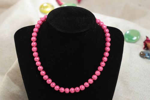 Stylish bright handmade pink bead necklace for children - MADEheart.com