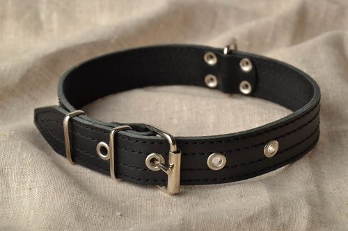 Black genuine leather collar - MADEheart.com