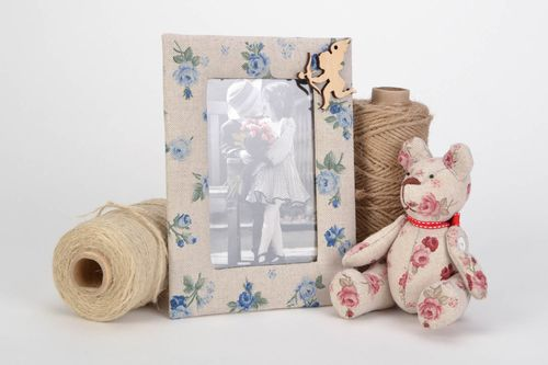 Unusual stylish vintage handmade photo frame created of plywood and fabric - MADEheart.com