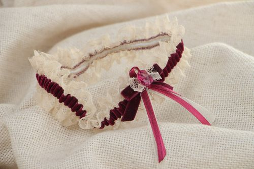 Handmade wedding bridal garter with lace and velor bow of dark violet color - MADEheart.com