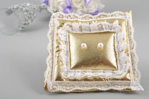 Beautiful handmade designer wedding ring pillow of gold color with lace - MADEheart.com