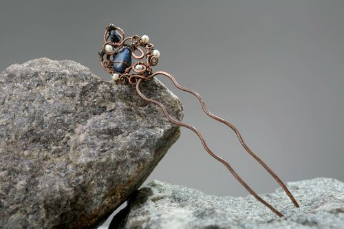 Hairpin with natural gems - MADEheart.com