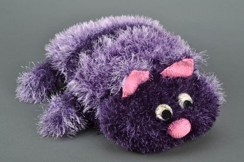 Knitted designer toy Lilac Cat - MADEheart.com