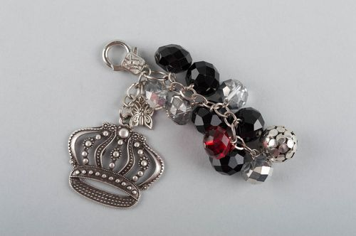 Handmade keychain made of glass beads with charm in shape of crown for girls - MADEheart.com