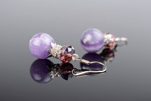 Earrings with amethyst and crystal - MADEheart.com