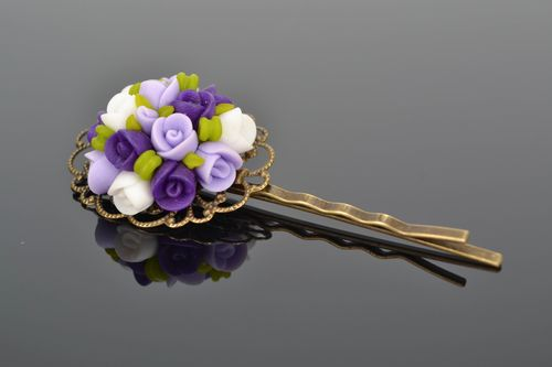 Polymer clay invisible hairpin Lilac Roses - MADEheart.com