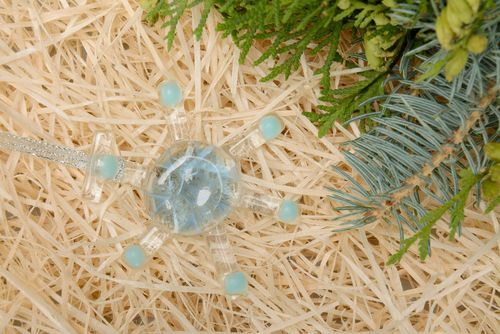 New Years glass decoration Turquoise snowflake - MADEheart.com