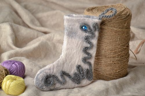 Handmade interior decoration felted of wool Boot - MADEheart.com