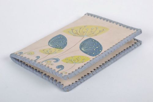 Leather passport cover Flowers - MADEheart.com