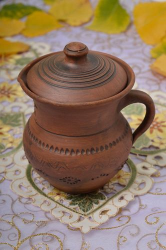 12 oz ceramic small handmade pitcher in village classic style 1 lb - MADEheart.com