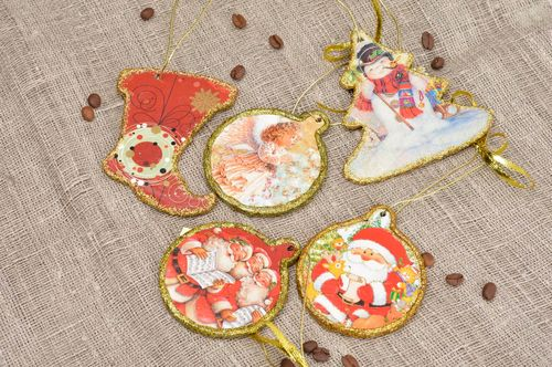 Handmade toys for New Year tree decorative pendant set of 5 items gift ideas - MADEheart.com