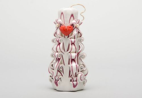 Carved paraffin wax candle - MADEheart.com