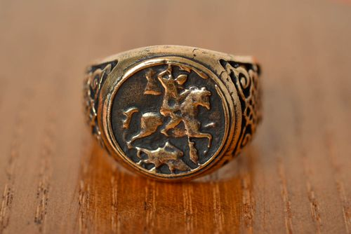 Beautiful homemade designer round top ring cast of bronze Georges the Victorious - MADEheart.com