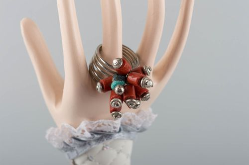 Handmade ring with natural stones beaded ring fashion jewelry present for girl - MADEheart.com