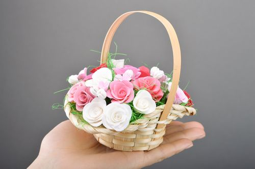 Woven basket with handmade polymer clay flowers for home decor - MADEheart.com