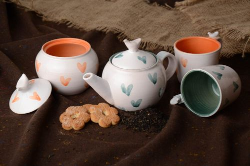 Glazed ceramic tea set handmade teapot 500 ml sugar bowl 500 ml and 2 cups 300 ml with heart pattern - MADEheart.com