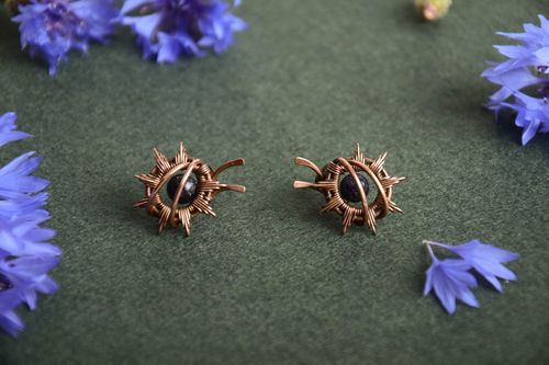 Handmade small wire wrap copper stud earrings with dark aventurine beads - MADEheart.com