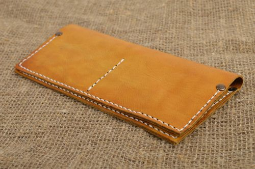 Handmade designer leather purse female yellow wallet unusual stylish accessory - MADEheart.com