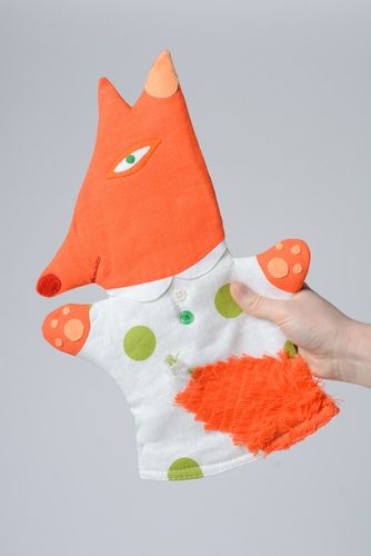 Handmade funny hand puppet sewn of linen and coarse calico orange fox for kids - MADEheart.com