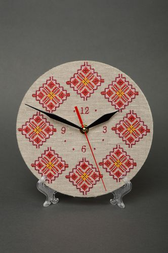 Handmade ethnic round wall clock with embroidery - MADEheart.com