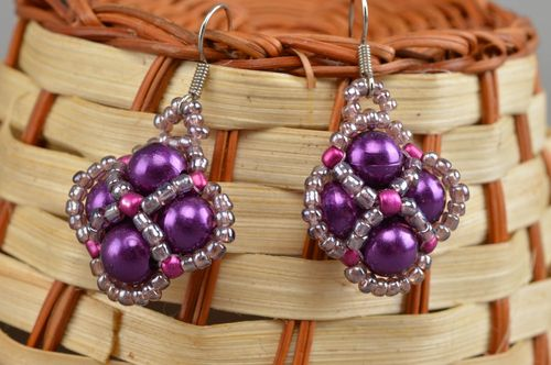 Cute handmade beaded earrings stylish jewelry for women fashion accessories - MADEheart.com