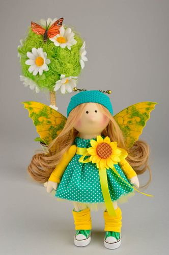 Designer doll bright handmade doll with wings textile toy decorative use only - MADEheart.com