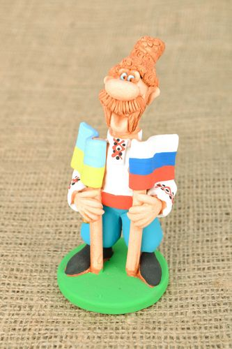 Ceramic figurine for present Two Flags - MADEheart.com