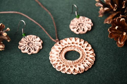 Ethnic dangling earrings handmade round clay pendant jewelry for ladies - MADEheart.com