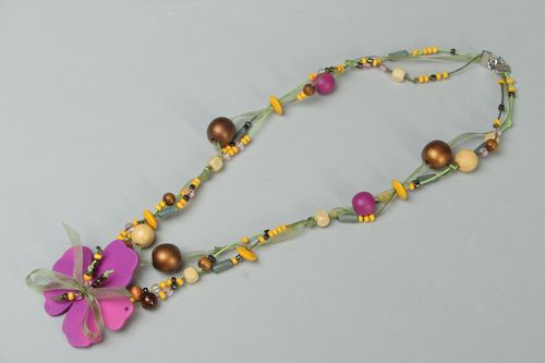 Bead necklace hand made of wood, plastic and organza Summer Fantasy - MADEheart.com