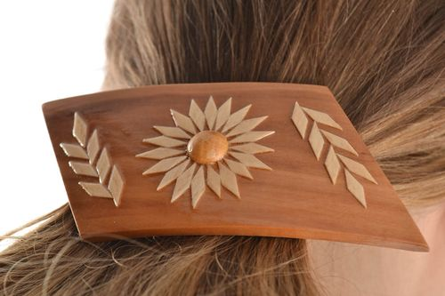 Unusual hair jewelry clip handmade large wooden eco friendly - MADEheart.com