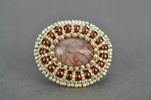 Beaded ring with agate - MADEheart.com