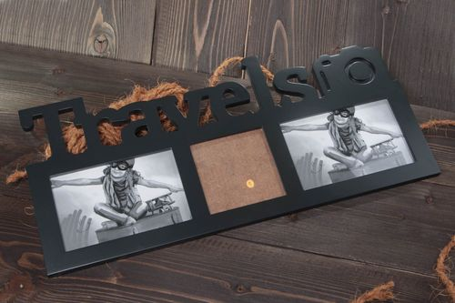 Handmade designer black rectangular MDF photo frame meant for 3 pictures Travels - MADEheart.com