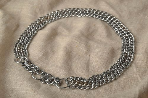 Metal dog collar in three rows - MADEheart.com