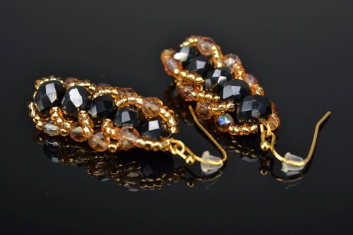 Black and gold long beaded earrings with crystals - MADEheart.com