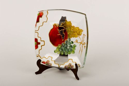 Beautiful handmade glass plate glass art small gifts decorative use only - MADEheart.com