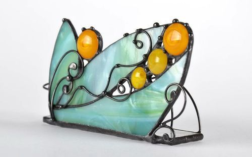 Stained glass business cards holder - MADEheart.com