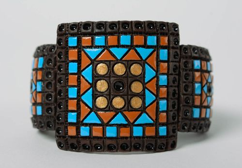 Unusual colorful wide handmade ceramic bracelet with leather inserts - MADEheart.com