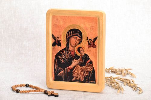 Icon reproduction on the wooden base Our Lady of Perpetual Help - MADEheart.com