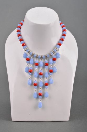 Handmade massive necklace with blue crystals designer accessory for women - MADEheart.com