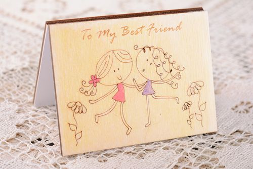 Beautiful plywood greeting card with engraving - MADEheart.com