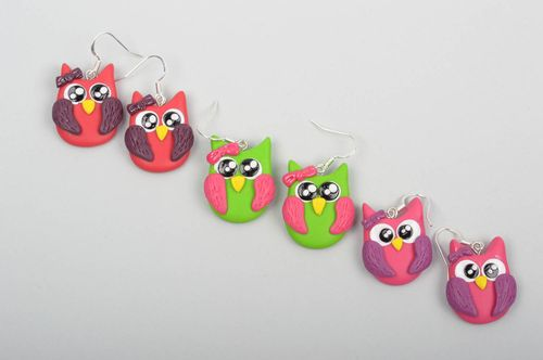 Handmade jewelry set 3 pairs of dangling earrings polymer clay gifts for girls - MADEheart.com