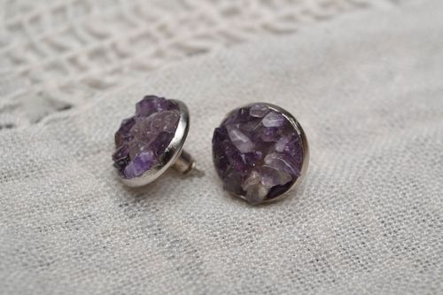 Amethyst stud earrings - MADEheart.com