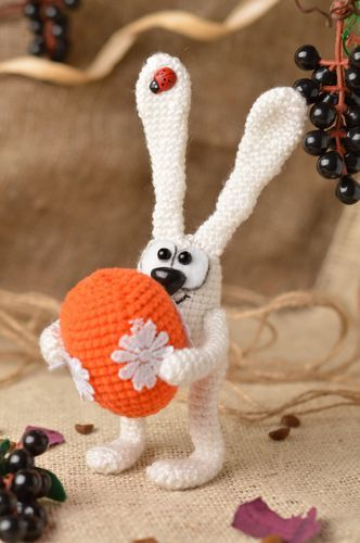 Handmade designer crocheted soft toy funny white rabbit with orange painted egg - MADEheart.com