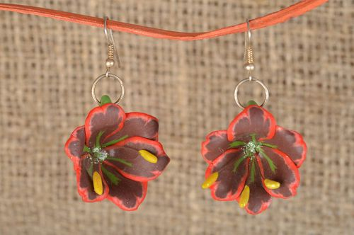 Beautiful handmade designer polymer clay dangle earrings with tropic flowers - MADEheart.com